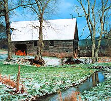 BARN WINTER,CADES COVE* by Chuck Wickham