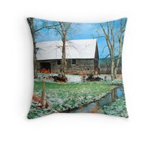 BARN WINTER,CADES COVE* Throw Pillow