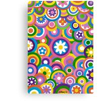Circles And Flowers - Brush And Gouache Canvas Print
