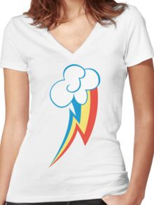 Rainbow Dash Cutie Mark (Large icon) - My Little Pony Friendship is Magic Women's Fitted V-Neck T-Shirt