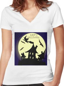 Hand drawn  ink Halloween's illustration  Women's Fitted V-Neck T-Shirt
