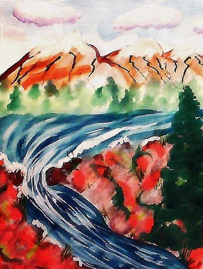 Spring Creek waterfalls, watercolor by Anna  Lewis
