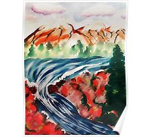 Spring Creek waterfalls, watercolor Poster