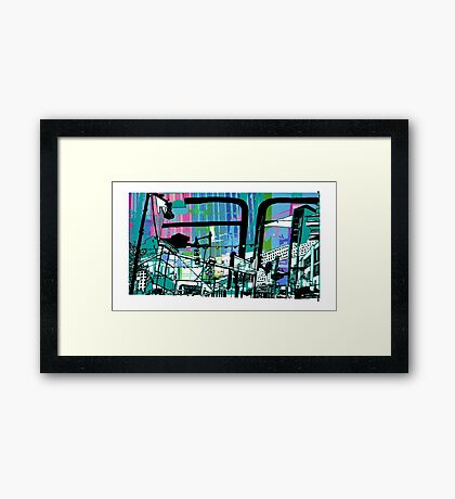 Teal Transport City Framed Print