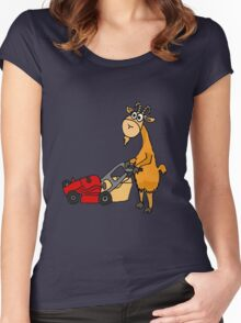 Funny Goat Pushing Lawn Mower Women's Fitted Scoop T-Shirt