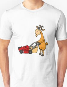 Funny Goat Pushing Lawn Mower Unisex T-Shirt