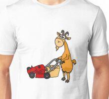 Funny Goat Pushing Lawn Mower Unisex T-Shirt