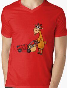 Funny Goat Pushing Lawn Mower Mens V-Neck T-Shirt