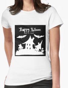 Hand drawn  ink Halloween's illustration  Womens Fitted T-Shirt