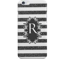 Chic black white faux glitter stripes monogram  iPhone Case/Skin