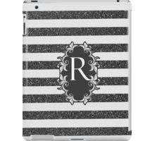 Chic black white faux glitter stripes monogram  iPad Case/Skin