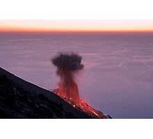 Volcano eruption at sunset Photographic Print