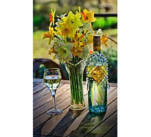 Sunshine and Daffodils and wine of course Photographic Print