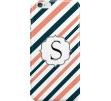 Modern warm winter colors stripes monogram  iPhone Case/Skin