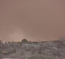 Dust storm Nullarbor Road house [b] by Paul Birch