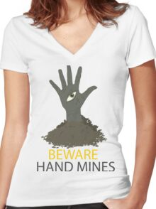 Beware of the Hand Mines 02 (Doctor Who) Women's Fitted V-Neck T-Shirt