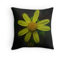 Fractal Yellow Purity Radiation Throw Pillow
