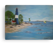 Lighthouse, a great day for sailing Canvas Print