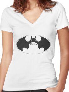 Totoro bat Women's Fitted V-Neck T-Shirt