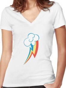 Rainbow Dash Cutie Mark (Medium icon) - My Little Pony Friendship is Magic Women's Fitted V-Neck T-Shirt