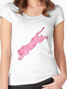 Pink Sabre-Toothed Tiger Jump Women's Fitted Scoop T-Shirt