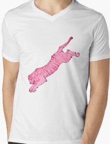 Pink Sabre-Toothed Tiger Jump Mens V-Neck T-Shirt