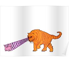 Sabre-Tooth Tiger Stalking a Pink Kitten (with laser eyes) Poster