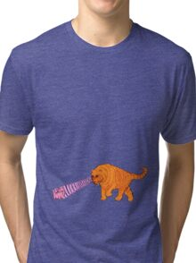 Sabre-Tooth Tiger Stalking a Pink Kitten (with laser eyes) Tri-blend T-Shirt