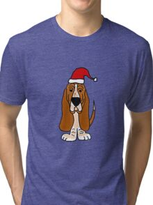 Adorable Basset Hound Dog with Red Santa Hat Tri-blend T-Shirt