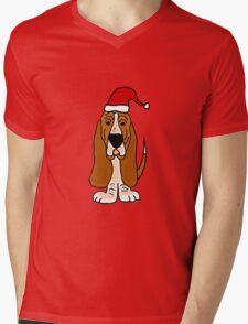 Adorable Basset Hound Dog with Red Santa Hat Mens V-Neck T-Shirt