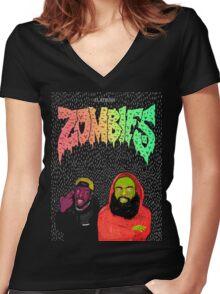 Flatbush Zombies Women's Fitted V-Neck T-Shirt