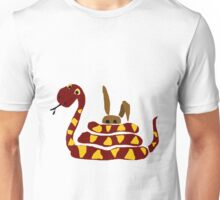 Funny Red and Yellow Snake Strangling Bunny Unisex T-Shirt
