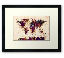 World Map Paint Splashes Framed Print