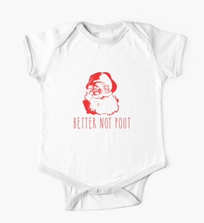 Better Not Pout Cute Santa Claus  One Piece - Short Sleeve