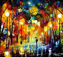 GOLD ALLEY - original oil painting on canvas by Leonid Afremov by Leonid  Afremov