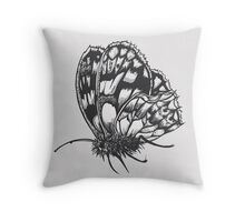 Grey Moth Throw Pillow