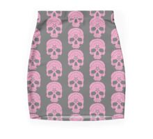 Pink Ouija Skull on Grey Background Pencil Skirt
