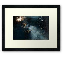 Smoke beams of light  Framed Print