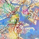 Boston Massachusetts Street Map by Michael Tompsett