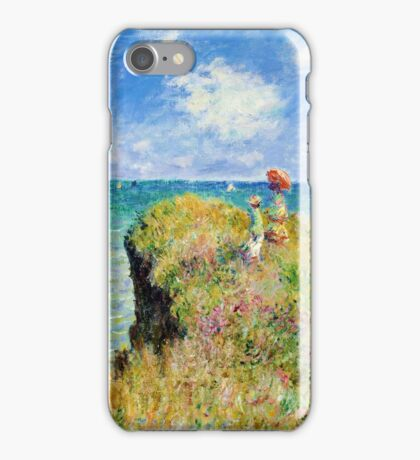 Claude Monet - Walk on the Cliff at Pourville iPhone Case/Skin