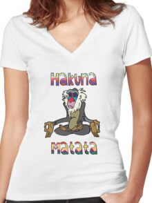 Yoga Rafiki - Hakuna Matata Women's Fitted V-Neck T-Shirt
