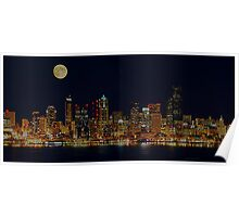 Full Moon Over Seattle Poster