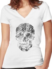 Swirly Skull Women's Fitted V-Neck T-Shirt
