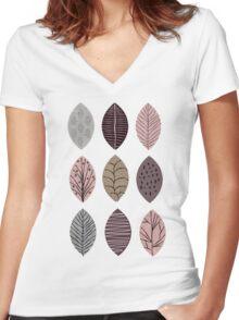 Nature Inspired Leaves  Women's Fitted V-Neck T-Shirt