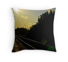 Deserted Rail Station Throw Pillow