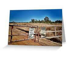 Australian outback, station gate. Greeting Card