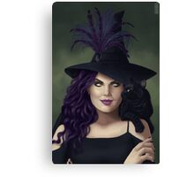 Witch Smiling at Black Cat Canvas Print