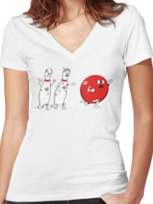 Ten Pins Turn the Tables Women's Fitted V-Neck T-Shirt