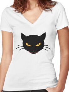 Evil Kitty Women's Fitted V-Neck T-Shirt