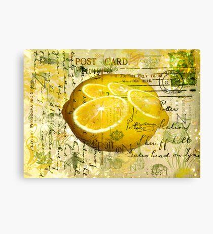 Postcard Lemons Canvas Print